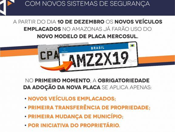 Placa com padrão Mercosul começa ser usada em dezembro no Amazonas